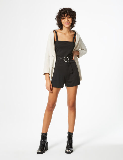 Playsuit with rhinestone buckle detail