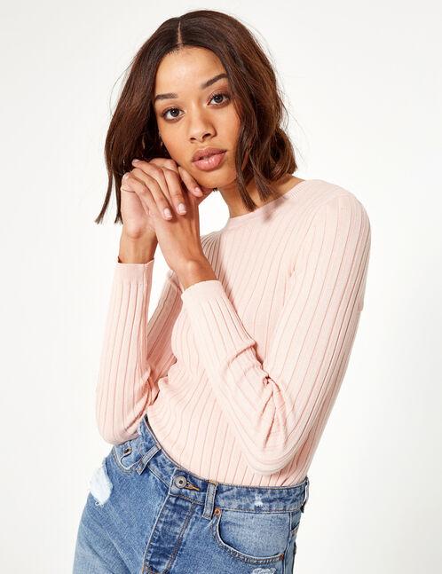 pull avec laçage dos rose clair