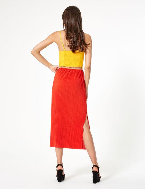 jupe longue plissée rouge