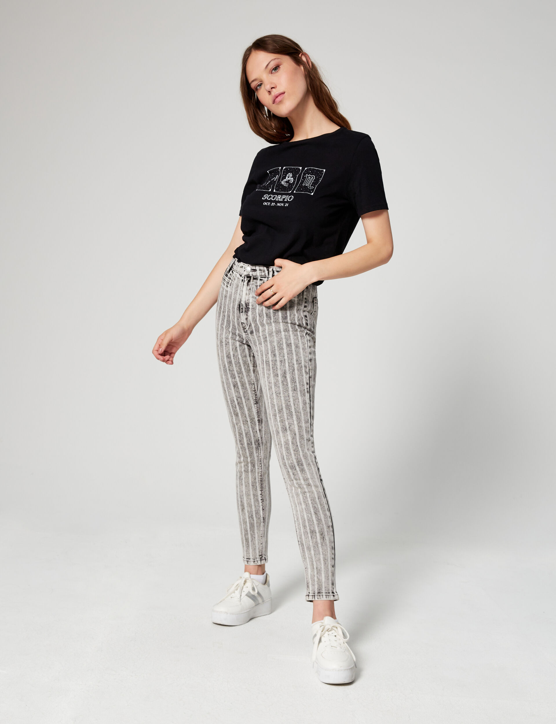 Jean skinny taille haute rayé