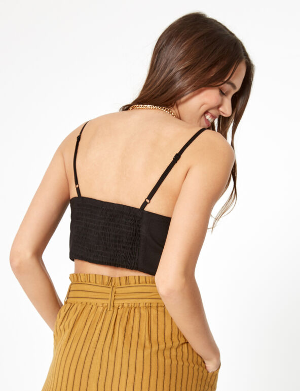 Black crop top with knot detail