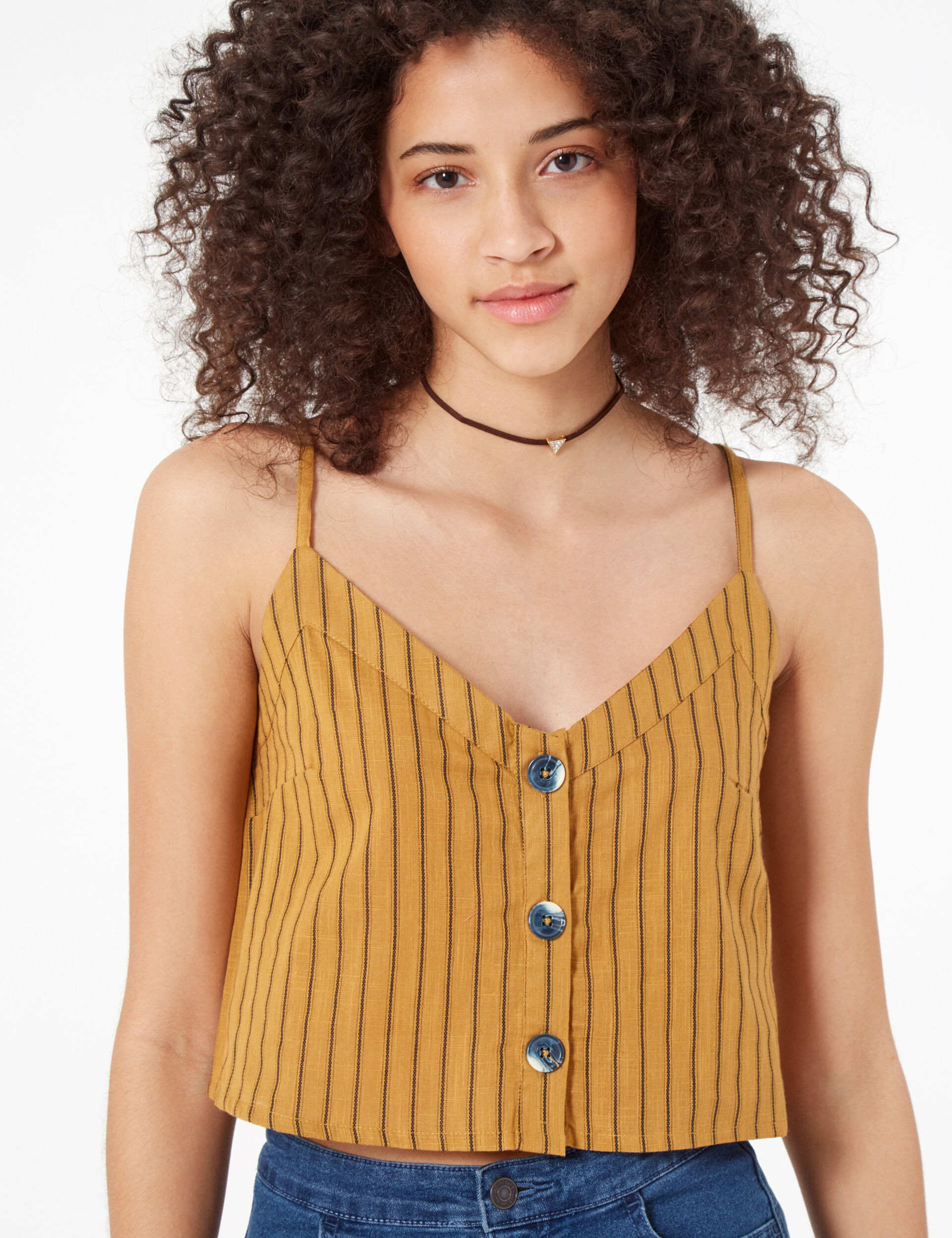 Ochre and black striped cropped blouse