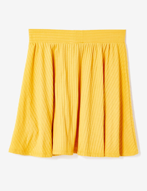 Ochre ribbed skater skirt
