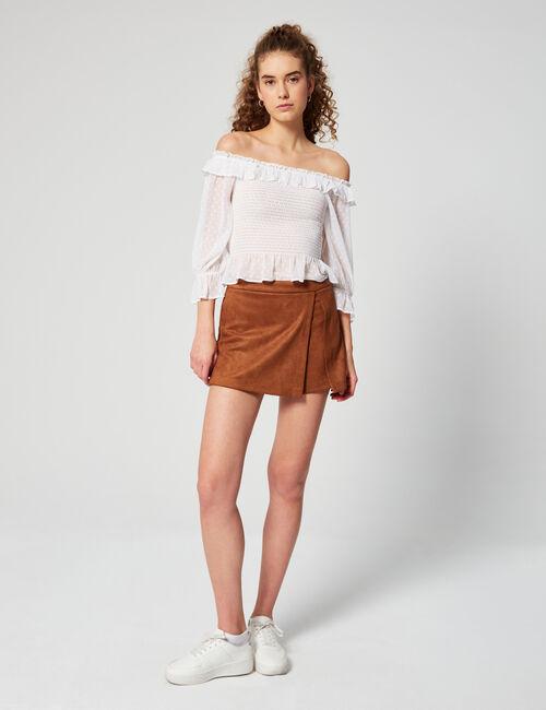 Skort style imitation suede shorts