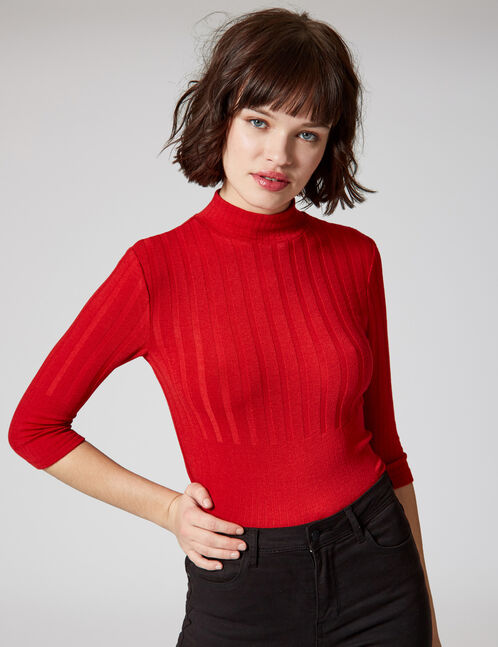 Red ribbed top