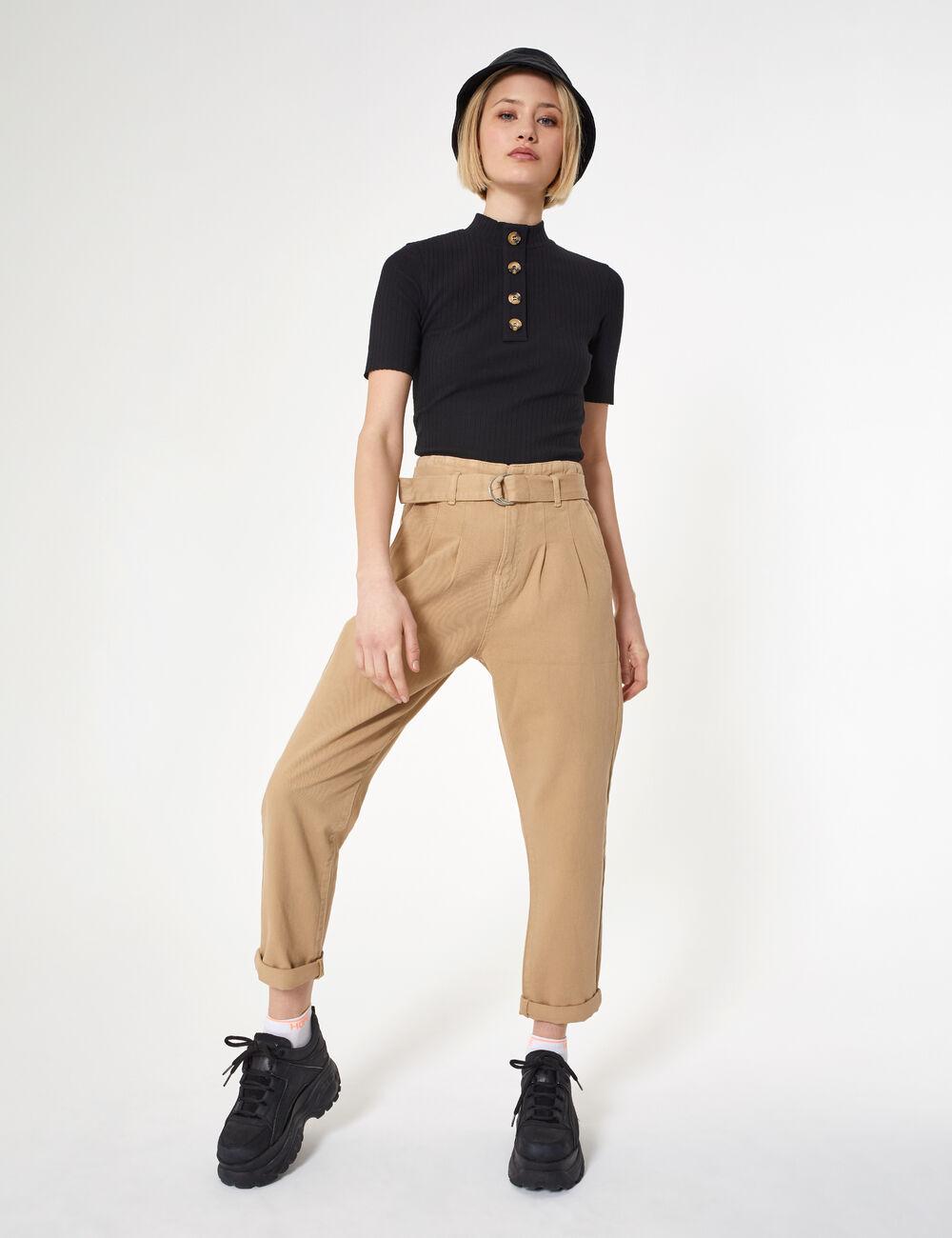 pantalon avec ceinture beige femme jennyfer. Black Bedroom Furniture Sets. Home Design Ideas