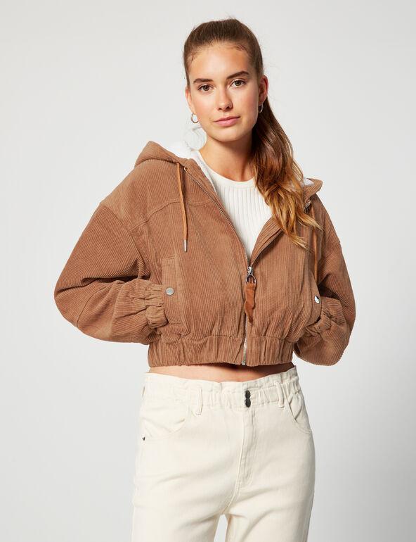 Rib-knit hooded jacket