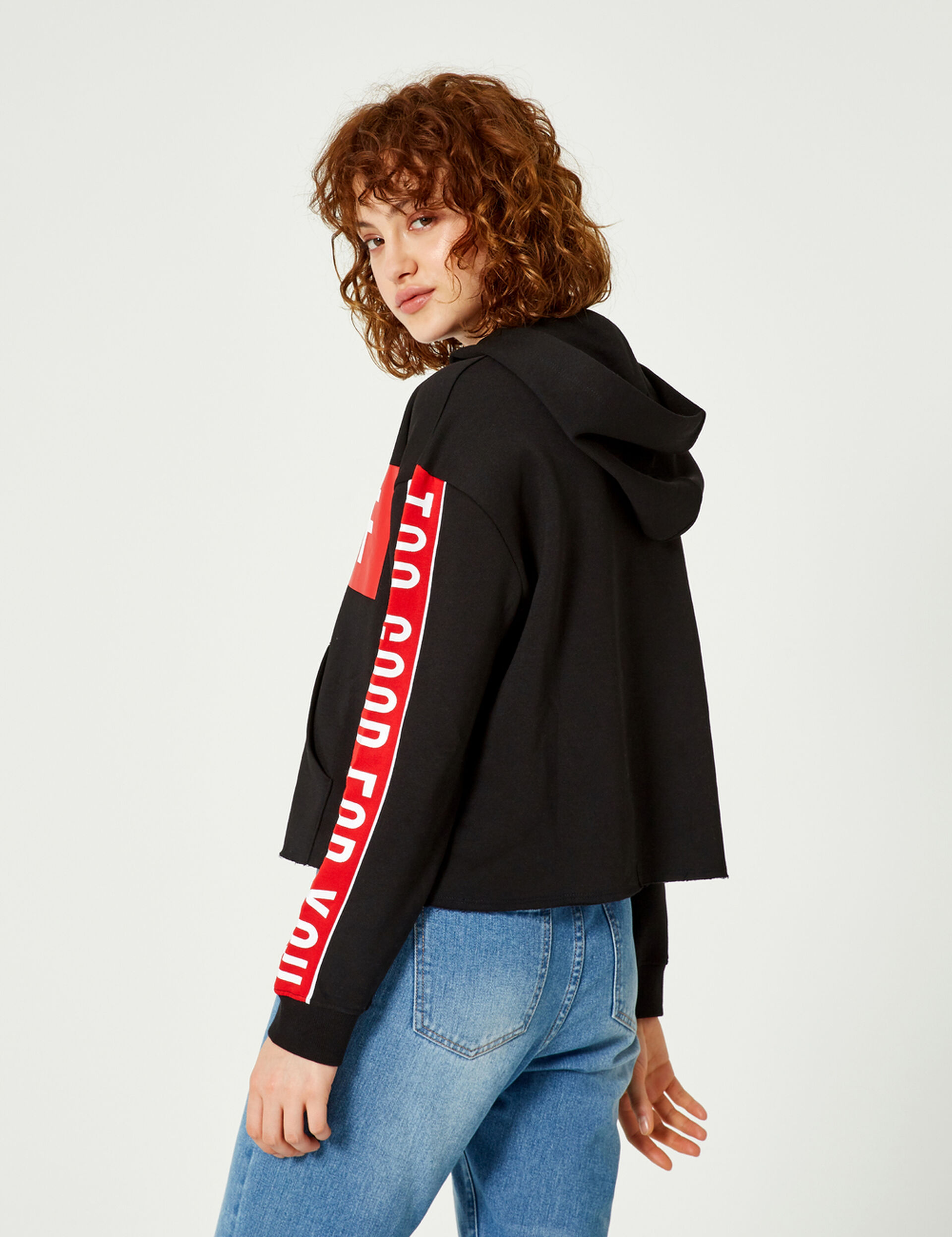 """Black, red and white """"back off"""" hoodie"""