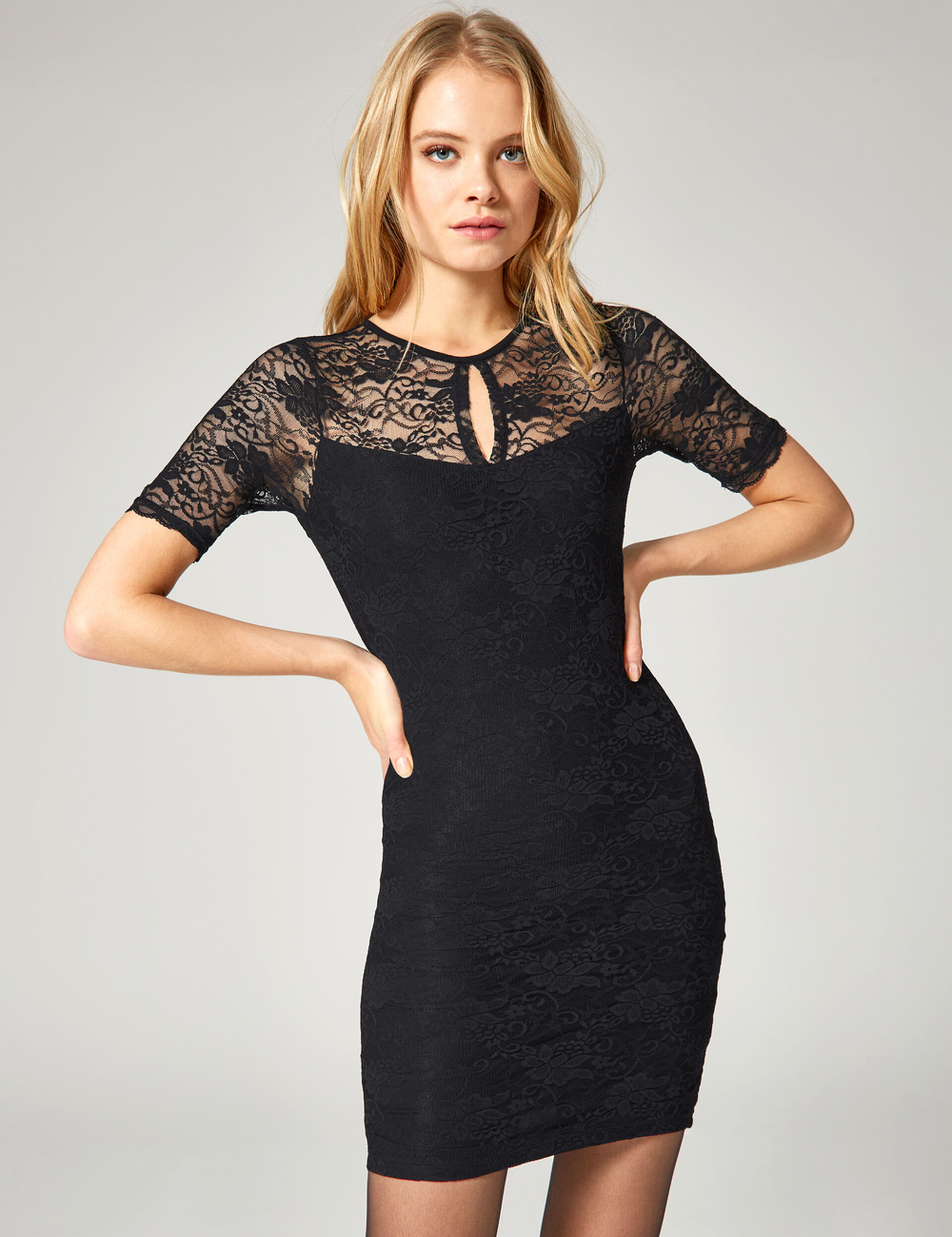 Black open-back lace dress
