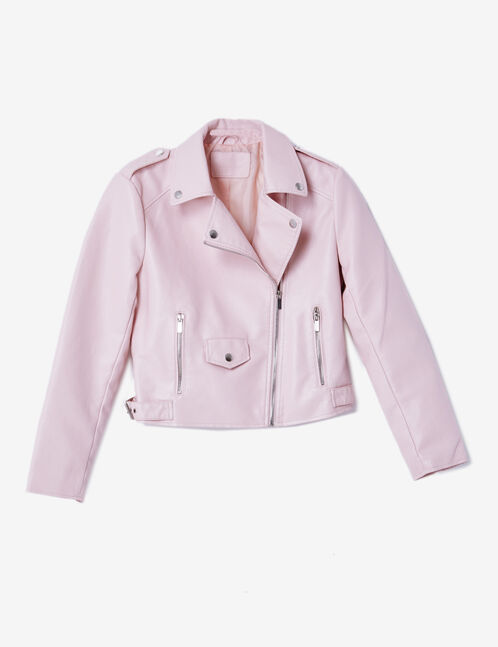 Light pink biker jacket with zip detail