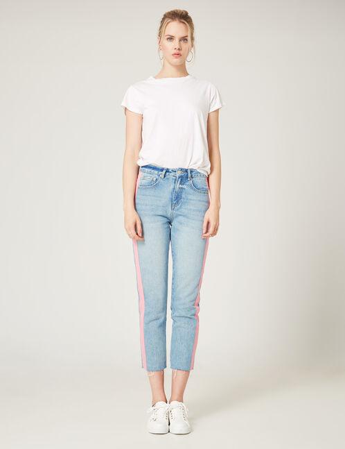jean avec détails roses bleu clair