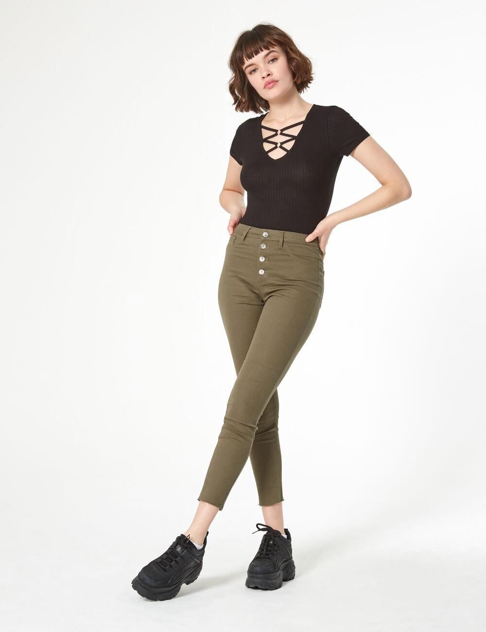 good top brands shades of Jegging taille haute kaki femme • Jennyfer