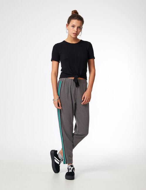 pantalon ville avec bandes gris anthracite