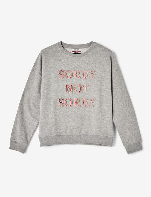 Grey marl sweatshirt with textured text design detail