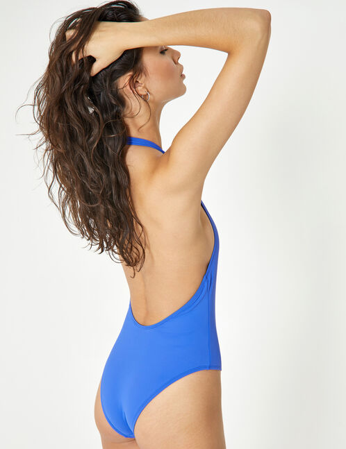 Blue zipped swimsuit