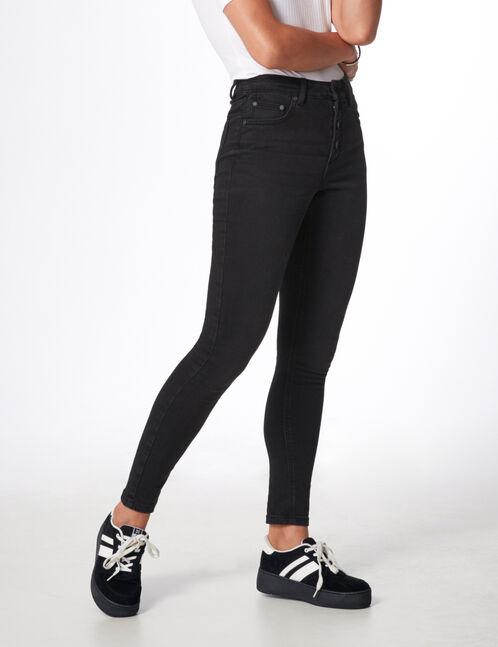 jean taille haute boutonné noir