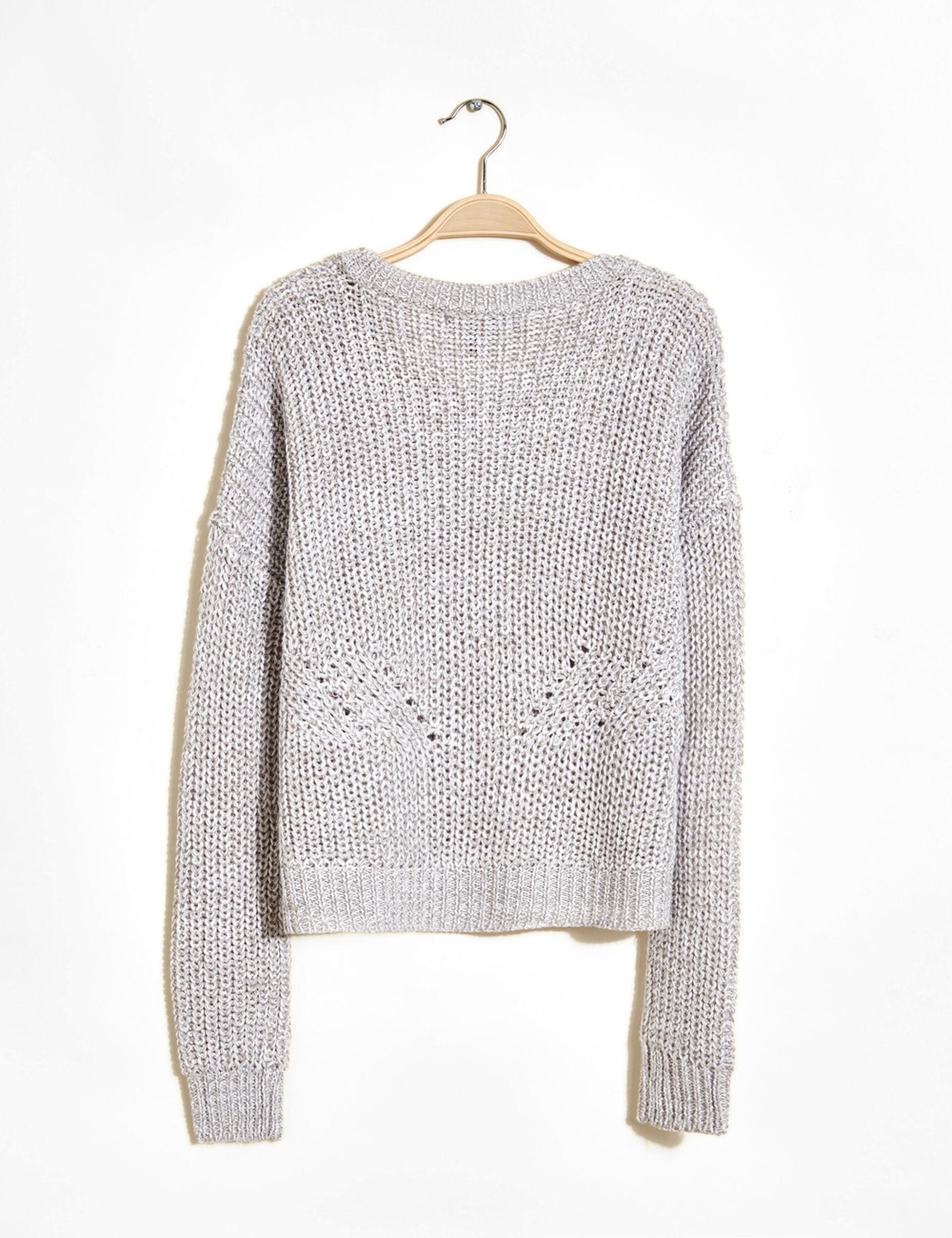 pull coupe courte maille gris chiné et blanc