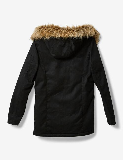 Black faux fur-lined parka