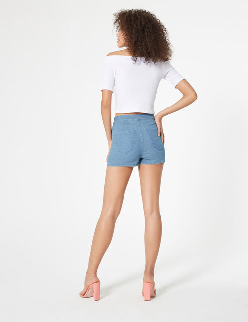 short taille haute bleu clair