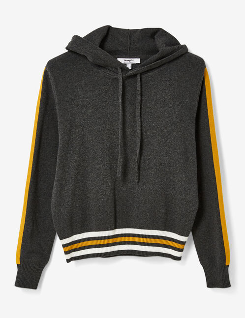 Charcoal grey marl and ochre hoodie