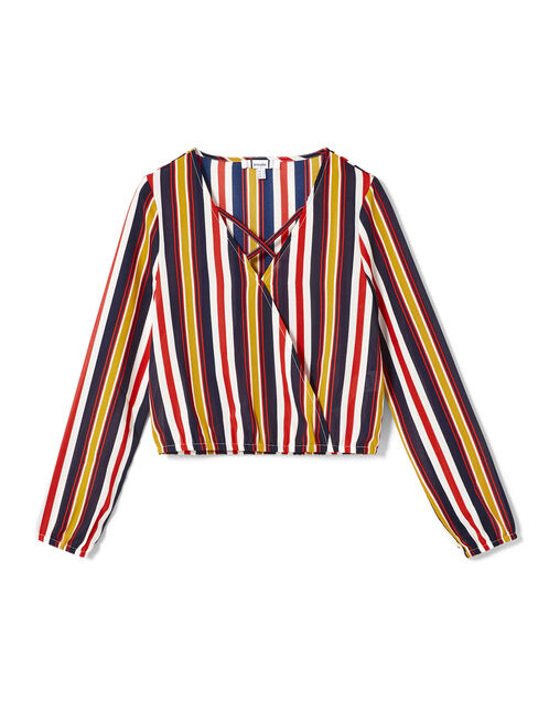 Ochre, red, navy blue and cream striped blouse