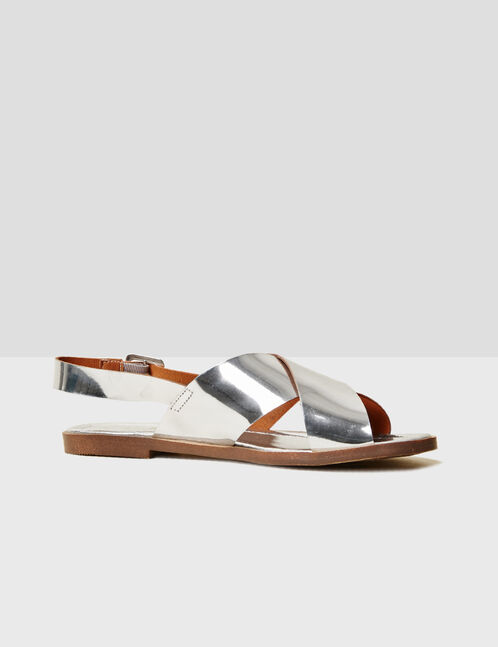 Flat silver sandals