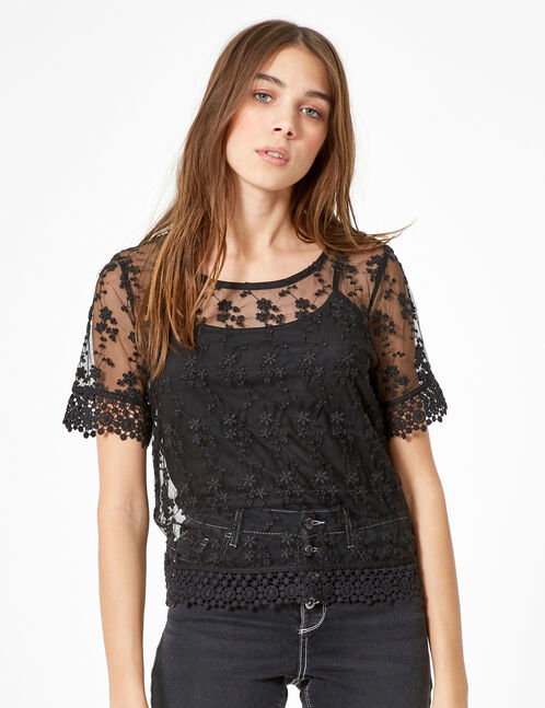 blouse avec superposition et dentelle noir