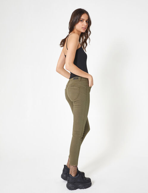 Khaki high-waisted skinny trousers
