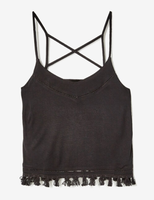 Black camisole with tassel detail