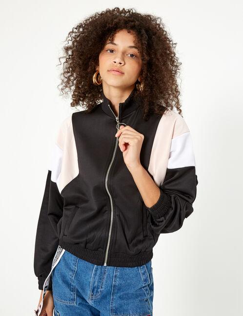 veste de jogging zippée noire blanche et rose clair