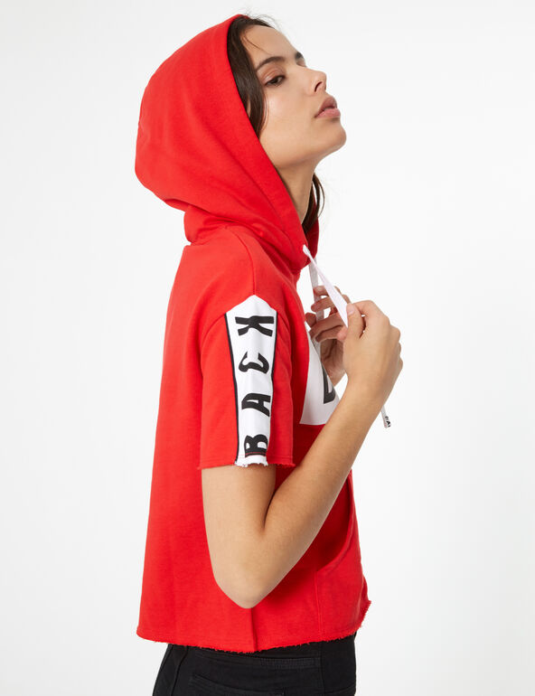 Red, black and white short-sleeved hoodie