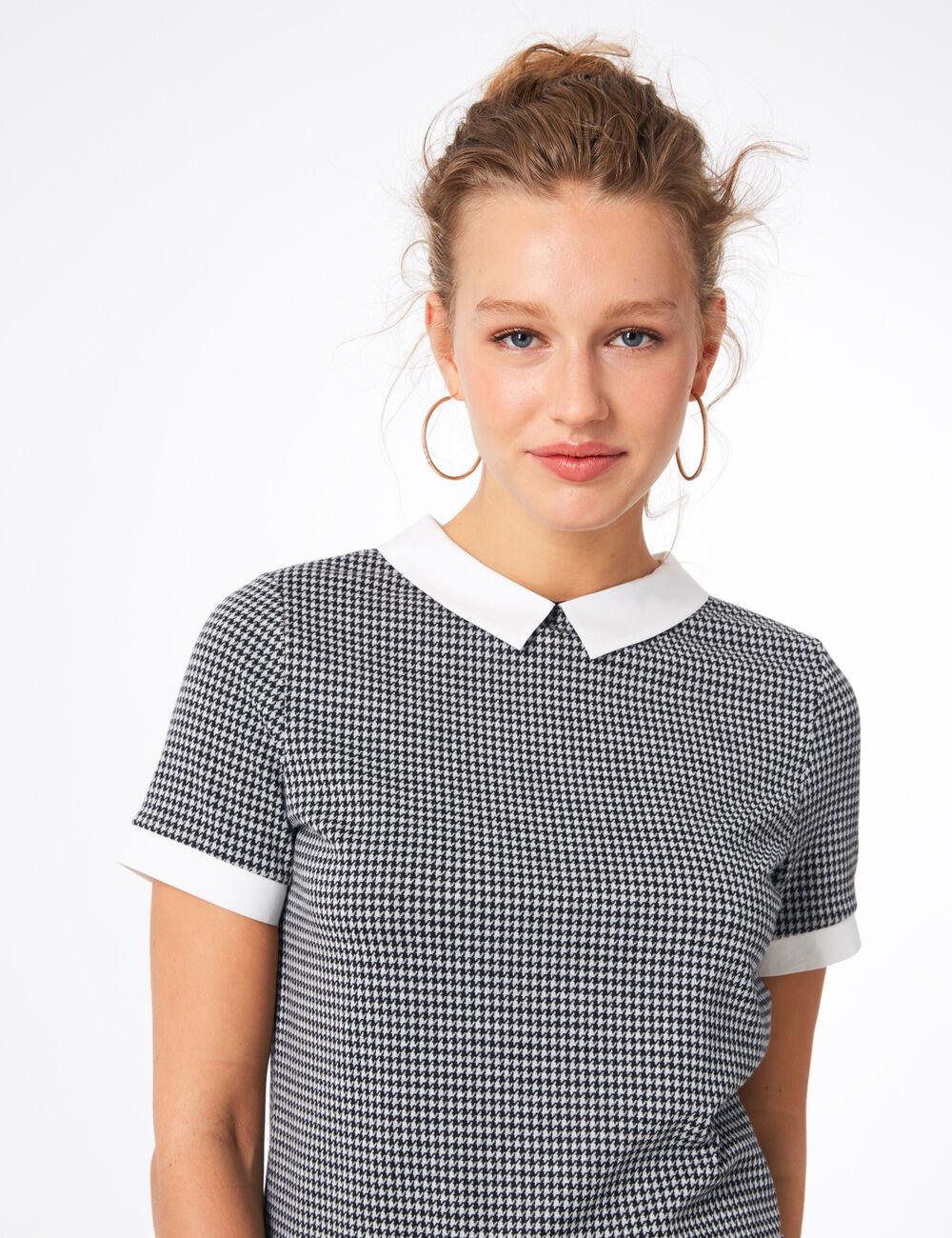 tee shirt col blanc noir et gris femme jennyfer. Black Bedroom Furniture Sets. Home Design Ideas