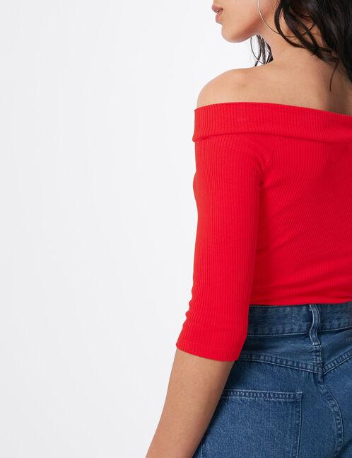 top épaules dénudées zippé rouge
