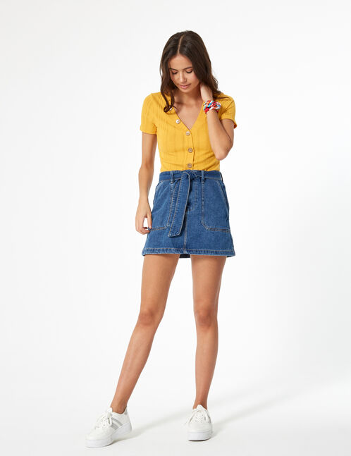 Medium blue belted denim skirt