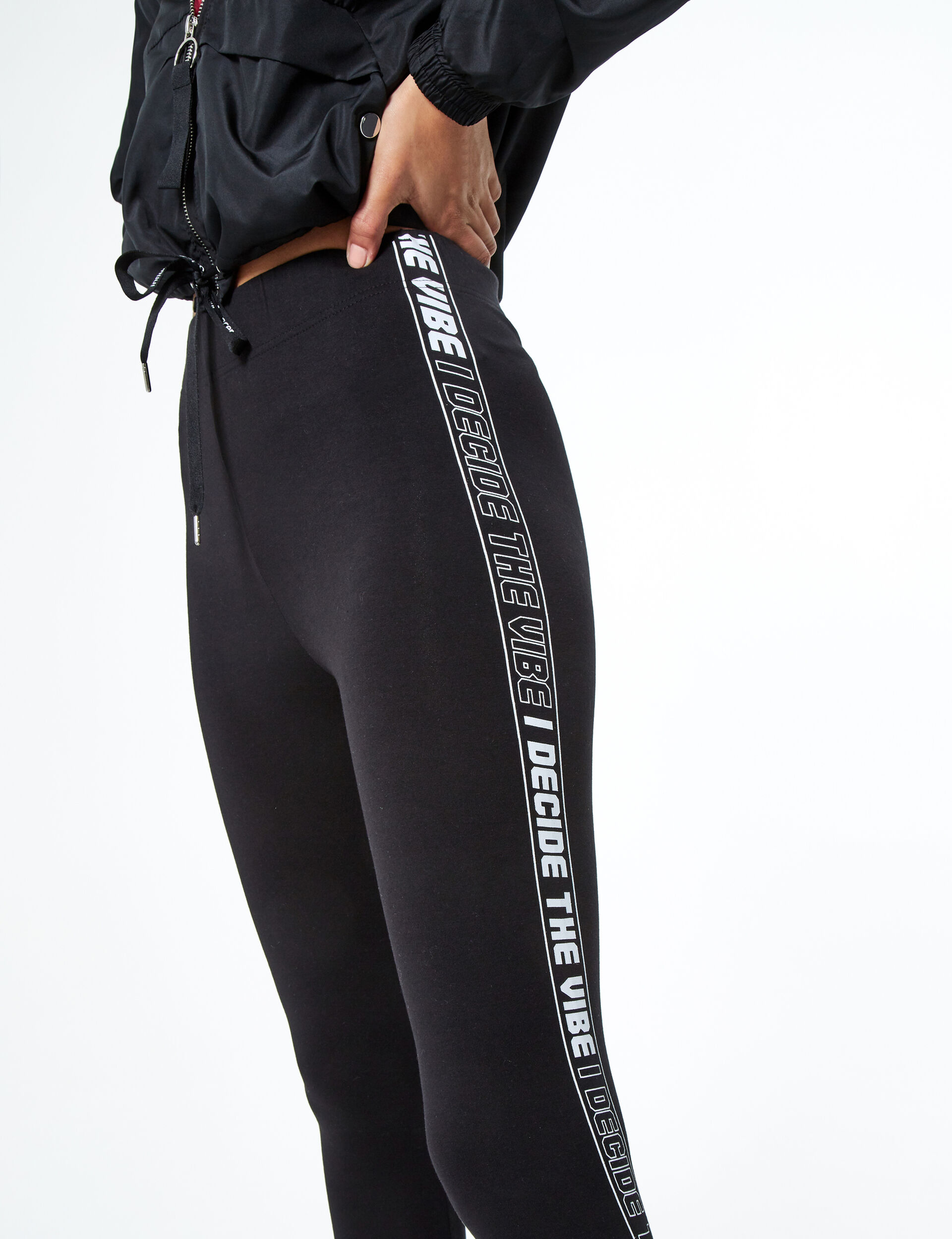 Leggings with text design trim detail