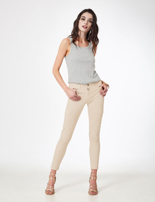 pantalon cargo à poches beige