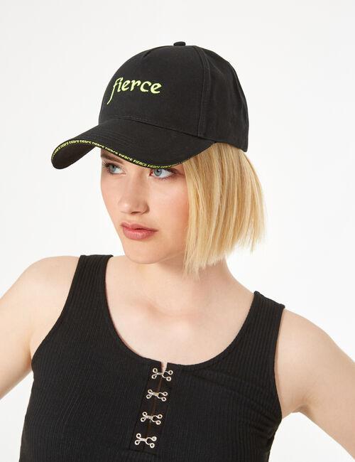 Black and neon yellow fierce cap