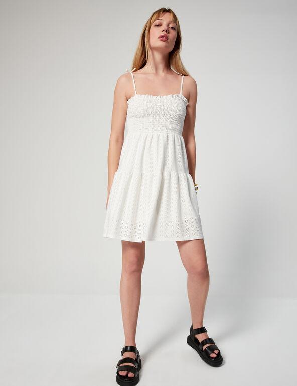 Openwork smocked dress