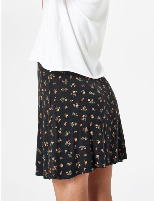 Black flared skirt with button detail