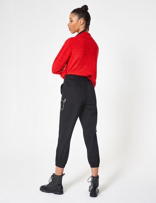 pantalon cargo avec chaîne noir