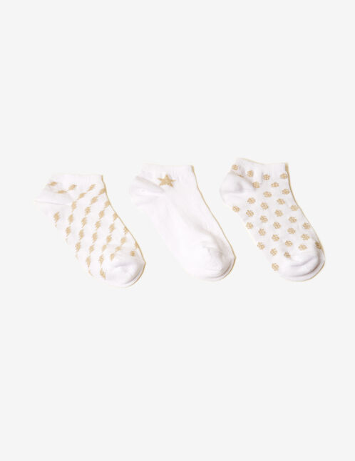 Cream and gold socks with lurex detail