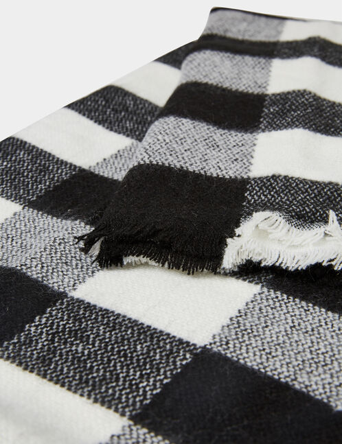 Black and cream checked scarf