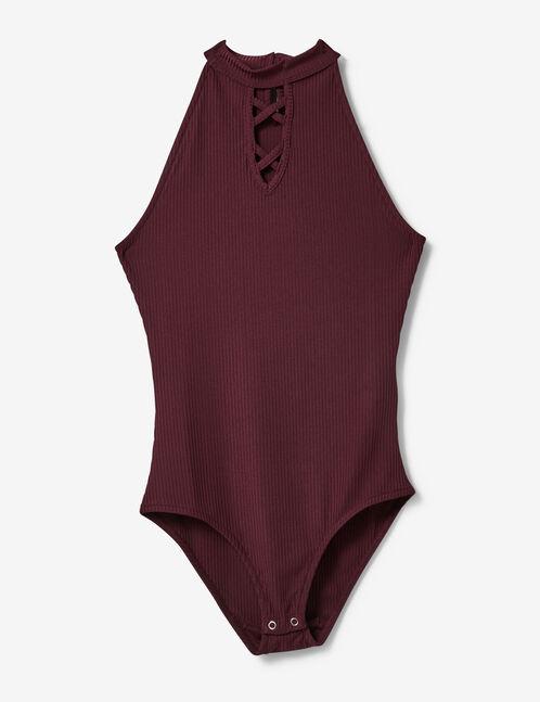 Plum bodysuit with strap detail