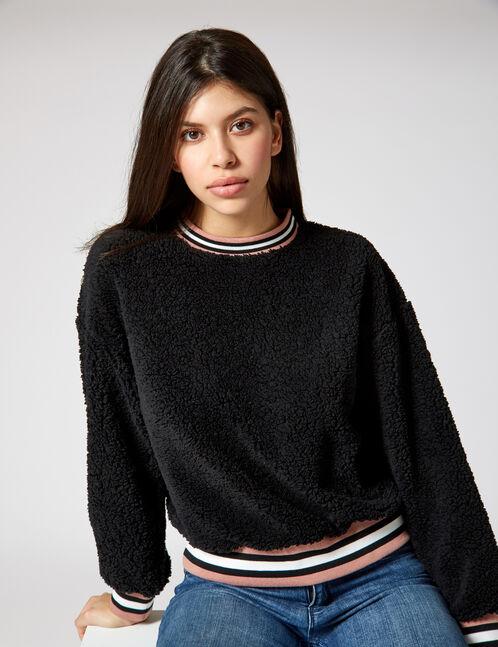 Black faux fur sweatshirt