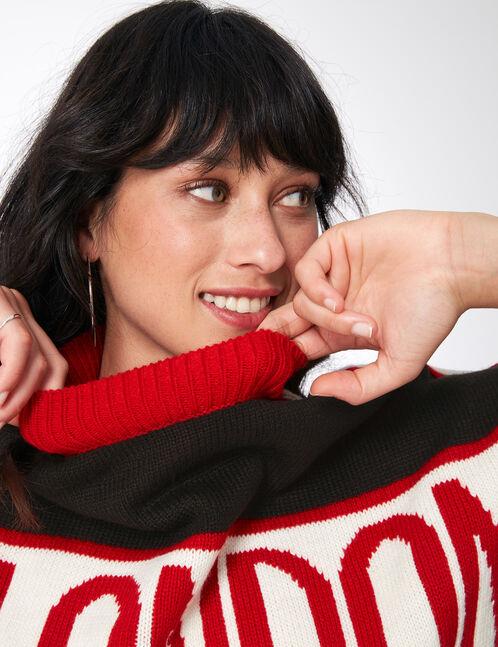 pull w.london tricolore noir, rouge et écru