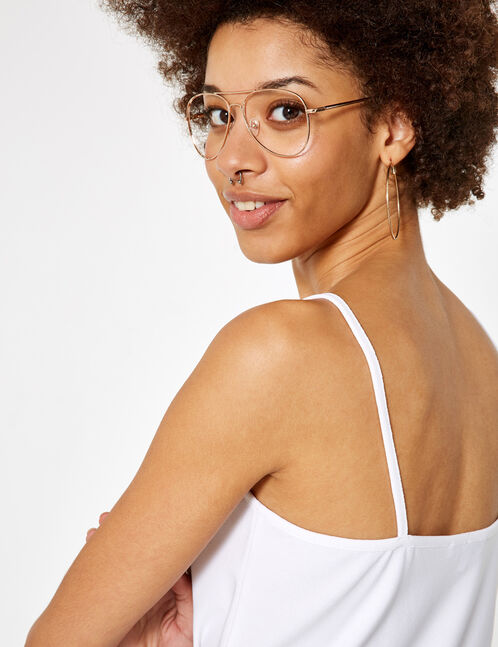 White tank top with lace detail
