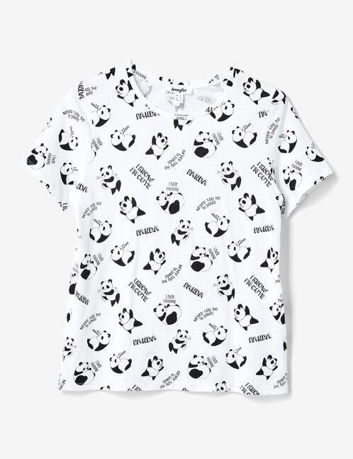 tee-shirt imprimé panda blanc