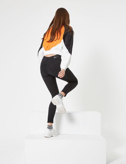 Black zipped skinny jeans