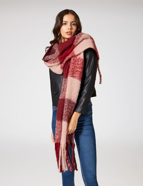 Light pink and burgundy checked scarf