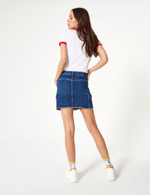 jupe en jean avec poches bleu